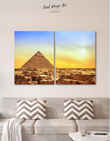 Ancient Giza Pyramid at Sunset Canvas Wall Art - image 9