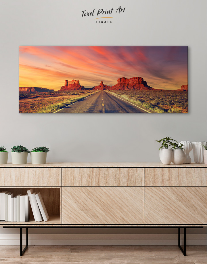 Road to Monument Valley at Sunset Panoramic Canvas Wall Art