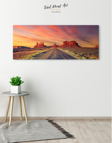 Road to Monument Valley at Sunset Panoramic Canvas Wall Art - image 1
