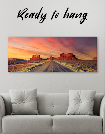 Road to Monument Valley at Sunset Panoramic Canvas Wall Art - image 4