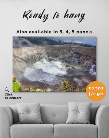 Poas Volcano Crater in Costa Rica Canvas Wall Art - image 3