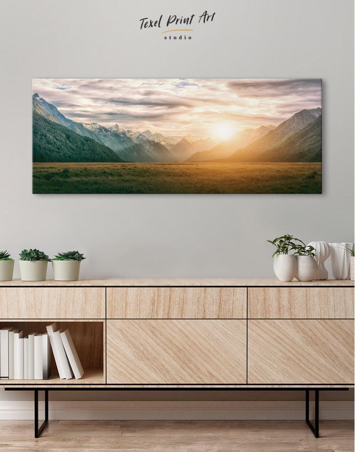 Panoramic Mountain Sunset Canvas Wall Art