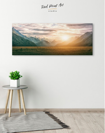 Panoramic Mountain Sunset Canvas Wall Art - image 3