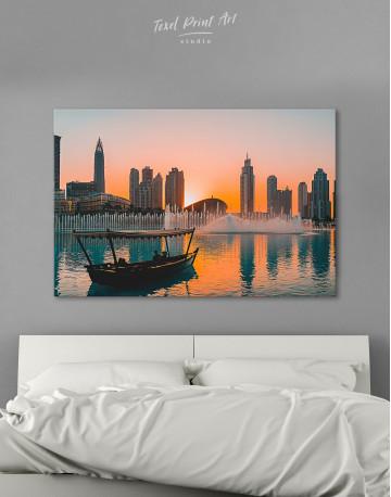 Sunset Dubai Fountain View Canvas Wall Art