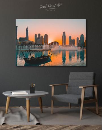 Sunset Dubai Fountain View Canvas Wall Art - image 4