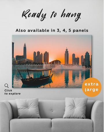 Sunset Dubai Fountain View Canvas Wall Art - image 3