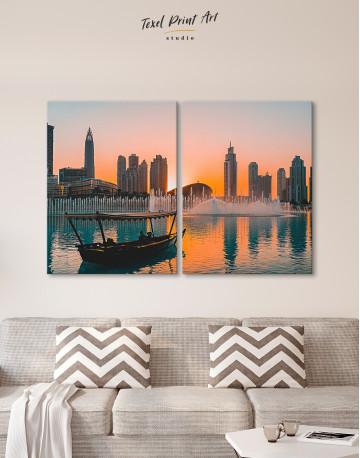 Sunset Dubai Fountain View Canvas Wall Art - image 9