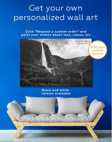 Vettisfossen Waterfall Norway Canvas Wall Art - image 3