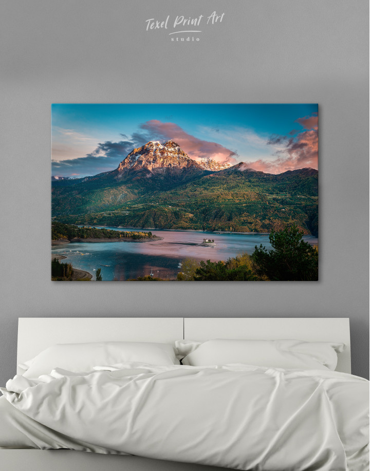 Huge Mountain Covered in Vegetation Canvas Wall Art
