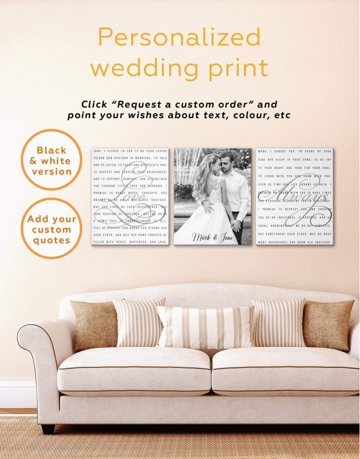 Wedding Vows Photo Collage Canvas Wall Art - Image 2