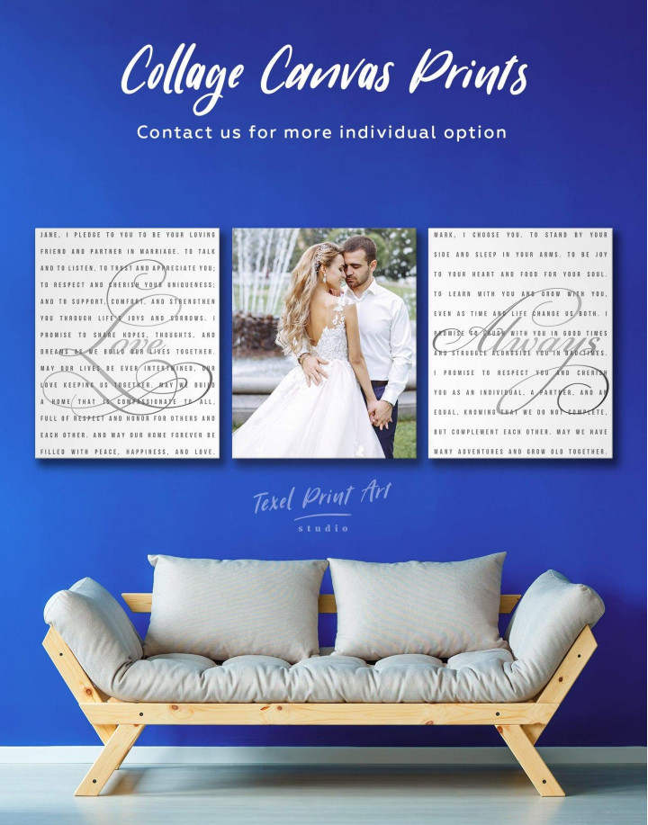 Wedding Vows Photo Collage Canvas Wall Art - Image 0