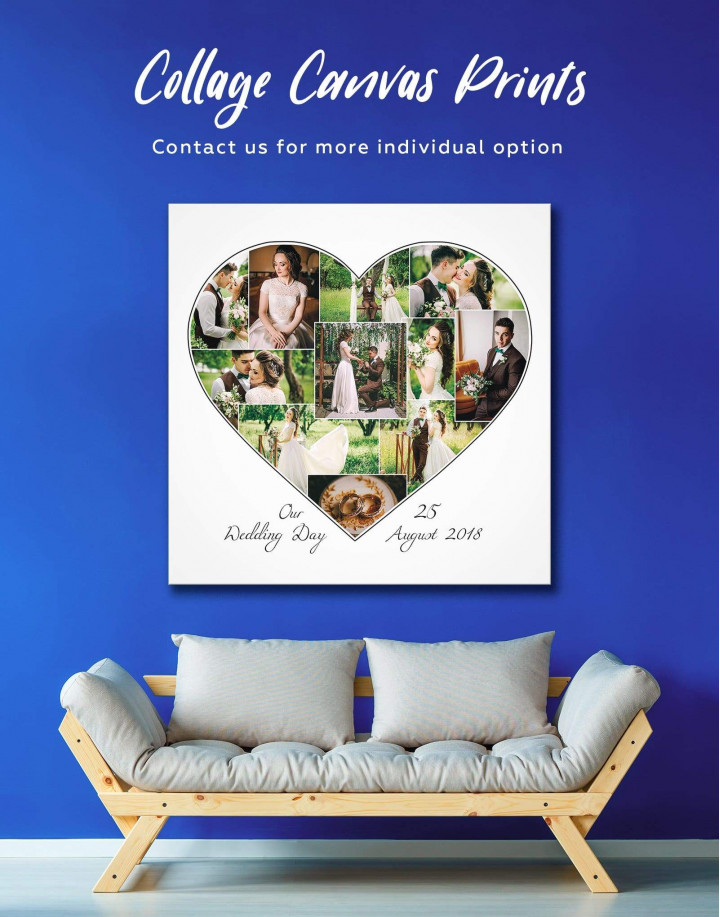 Heart Photo Collage    Print Canvas Wall Art - Image 0