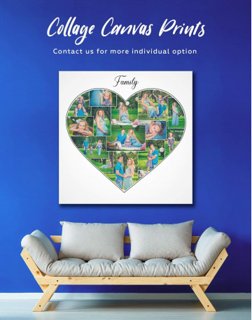 Heart Family Photo Collage Wall Art Canvas Print Canvas Wall Art