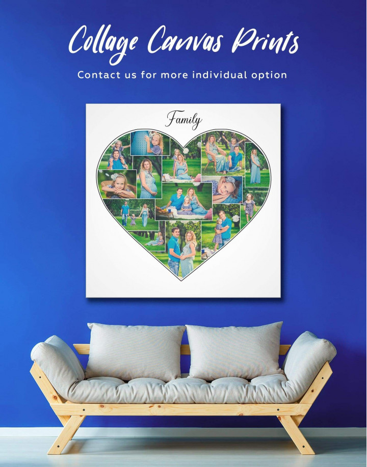 Heart Family Photo Collage    Print Canvas Wall Art - Image 0