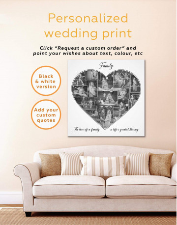 Heart Family Photo Collage Wall Art Canvas Print Canvas Wall Art - image 2